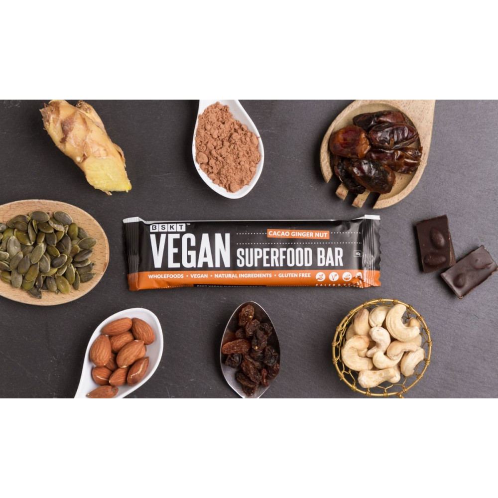 1 Case Vegan Superfood Bar Cacao Ginger Nut 45g